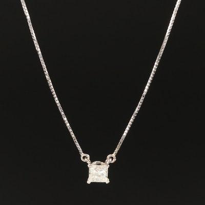 14K 0.59 CT Diamond Solitaire Necklace