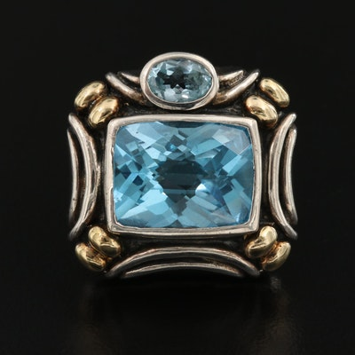 Sterling Silver Blue Topaz Enhancer Pendant