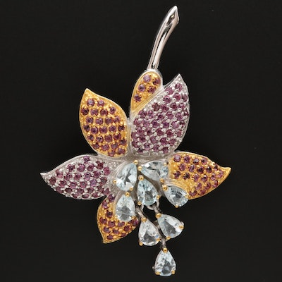 Sterling Silver Aquamarine and Garnet Flower Brooch