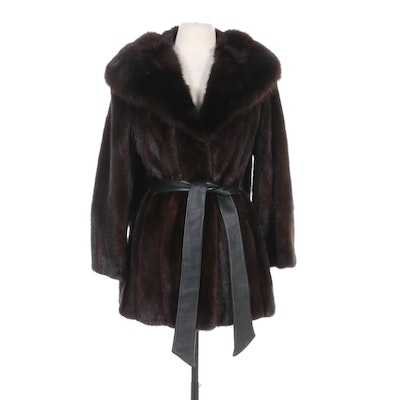 Sable Fur Shawl Collared Mahogany Mink Fur Jacket with Leather Belt by Bullock's