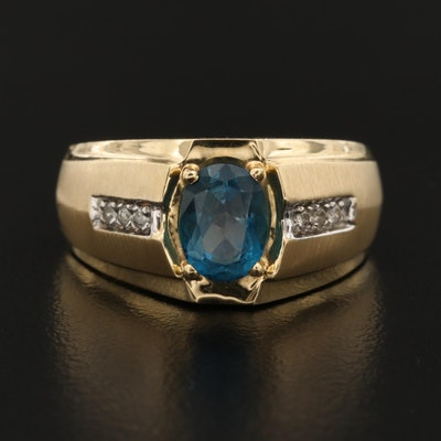 14K Topaz Ring with Diamond Accented Shoulders