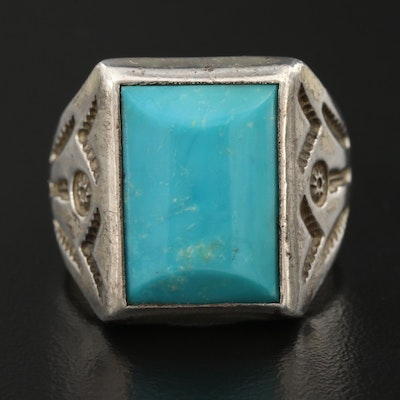 Western Sterling Turquoise Stampwork Ring