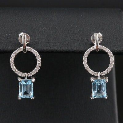 Sterling Silver Cububic Zirconia and Topaz Earrings