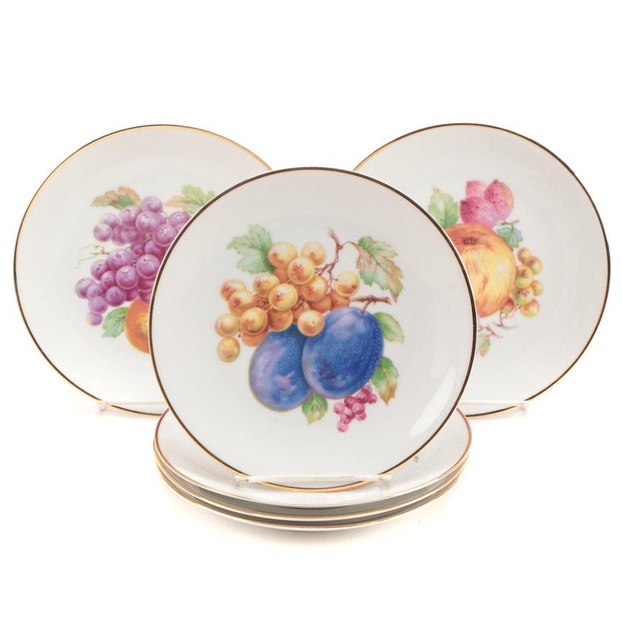 Porzellanfabrik Arzberg Fruit Motif Porcelain Salad Plates, Mid 20th Century