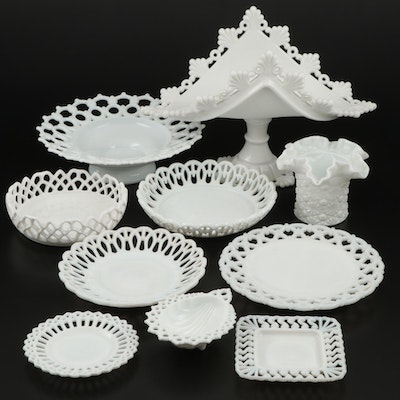 "Westmoreland ""Forget Me Knot"" and Other Milk Glass Serveware and Accessories"