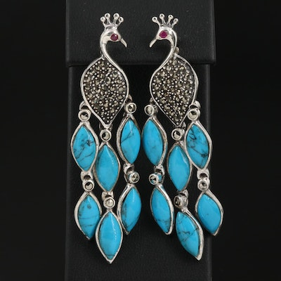 Sterling Turquoise and Marcasite Stylized Peacock Motif Drop Earrings
