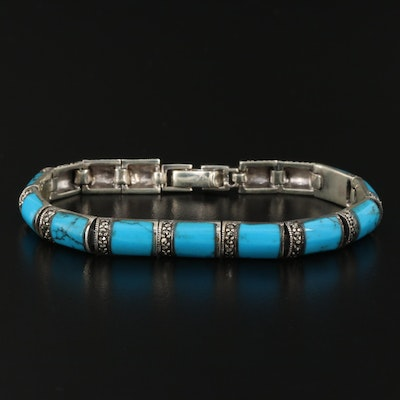 Sterling Turquoise and Marcasite Bracelet