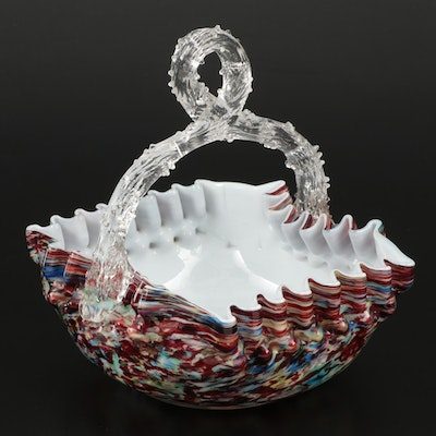 Confetti Art Glass Basket with Thorn Handle