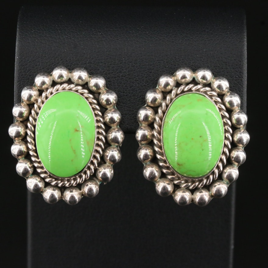 Sterling Mexican Silver Green Turquoise Oval Clip Earrings