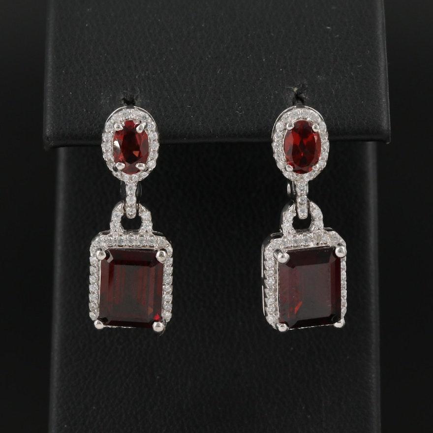 Sterling Garnet and Cubic Zirconia Dangle Earrings