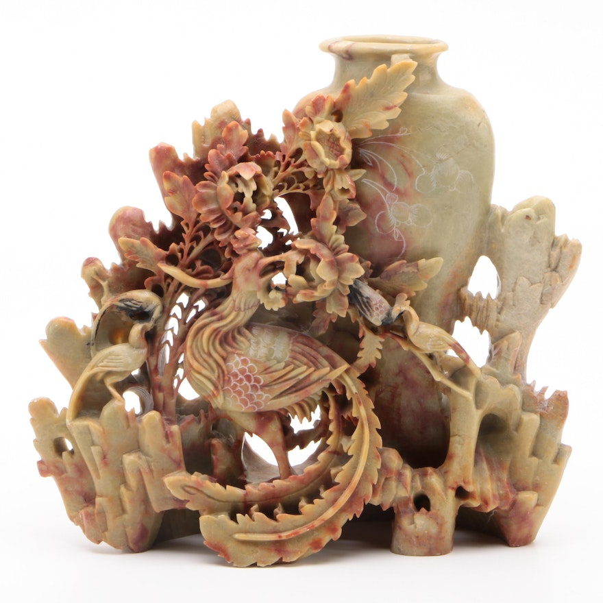 Chinese Carved Soapstone Vase with Phoenix and Flowers