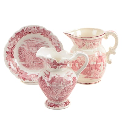Japanese Pink Transferware Pitcher with Other Pitcher and Bowl