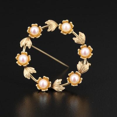 Vintage Mikimoto 14K Pearl Circle Brooch