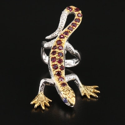 Sterling Silver Garnet Lizard Ring