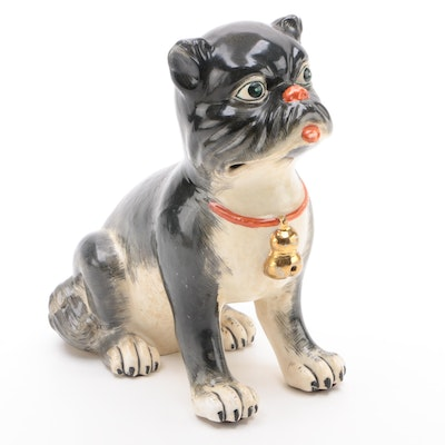 Maitland-Smith Porcelain Pug, Late 20th Century
