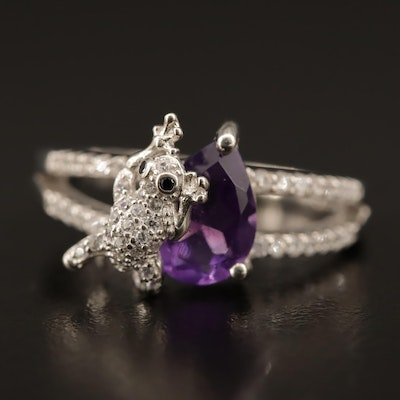 Sterling Silver Amethyst Ring with Cubic Zirconia Frog
