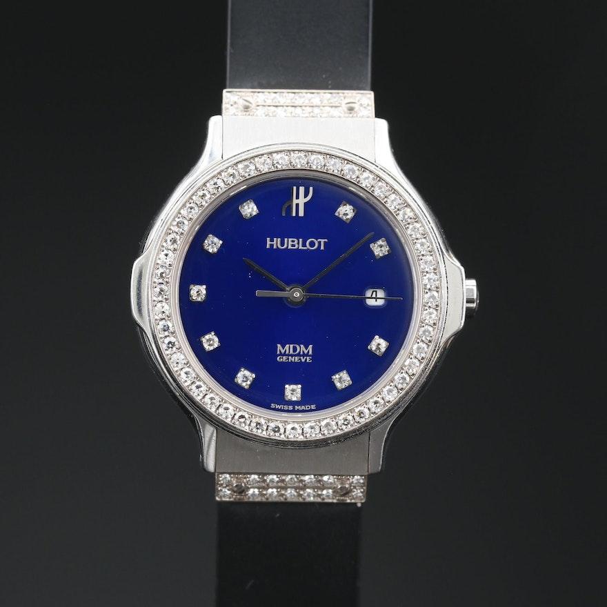 Hublot MDM Diamond Bezel, Lugs and Dial Stainless Steel Wristwatch