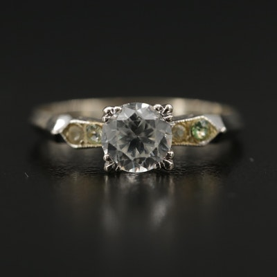 14K Zircon and Rhinestone Ring