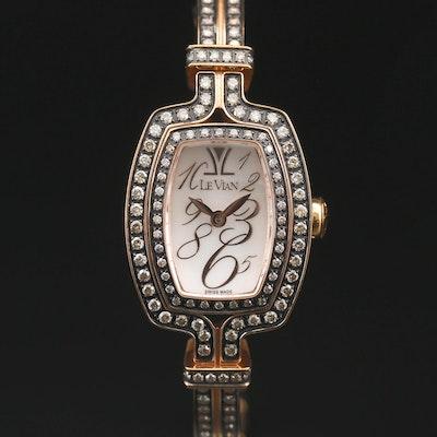 "Le Vian ""Chocolate Cusha"" Bangle 1.31 CTW Diamond and Stainless Steel Wristwatch"