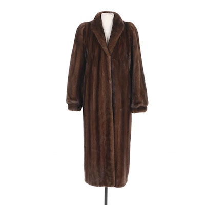Mink Fur Full-Length Coat with Banded Cuffs by John Tauben