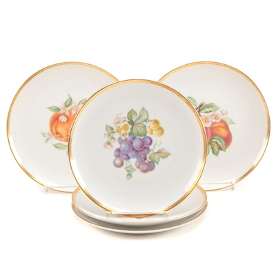 "Hutschenreuther ""Fruit"" Porcelain Salad Plates, Mid to Late 20th Century"
