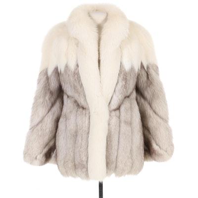 Saga Fox Mixed Blue Fox Fur Jacket