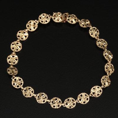 14K Diamond Cut Sand Dollar Motif Bracelet