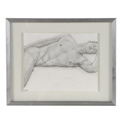 Kevin Ford Figural Graphite Drawing of Reclining Male Nude