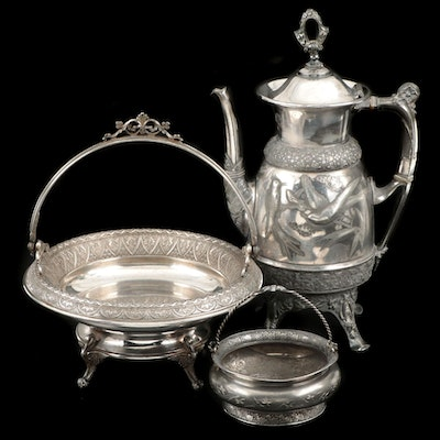 Derby Silver Co. Silver Plate Footed Basket and Other Silver Plate Serveware
