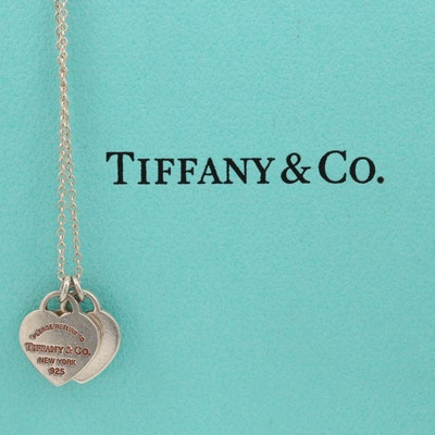 "Tiffany & Co. Sterling ""Return to Tiffany®"" Mini Double Heart Tag Necklace"