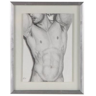 Kevin Ford Figural Graphite Drawing of Male Nude