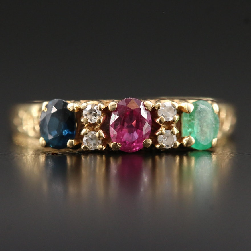 18K Ruby, Emerald, Sapphire Ring with Diamond Accents