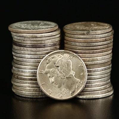 Thirty-Eight Mercury Silver Dimes, 1938-1945