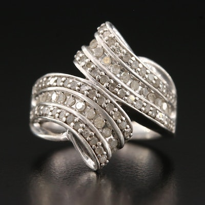 Sterling Silver Bypass Ring with Diamonds