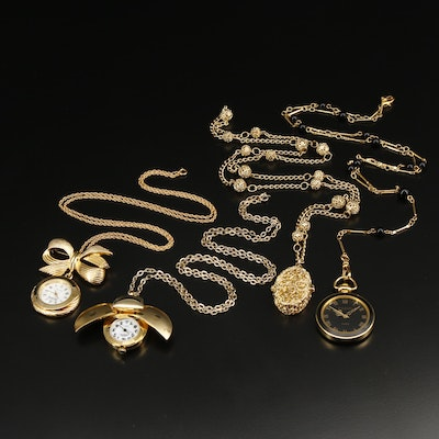 Collection of Gold Tone Pendant Watches and Converter Brooch