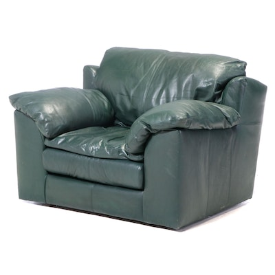 Viewpoint Leather Works Green Leather Easy Armchair