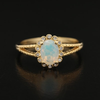 Sterling Opal and Cubic Zirconia Split Shank Ring