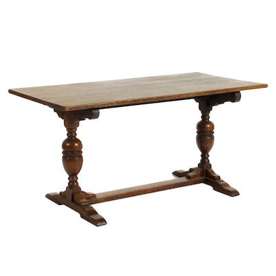 Farmhouse Style Trestle Quarter Sawn Oak Dining Table, Early to Mid 20th Century