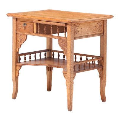 Late Victorian Oak Writing Table, Late 19th/Early 20th Century