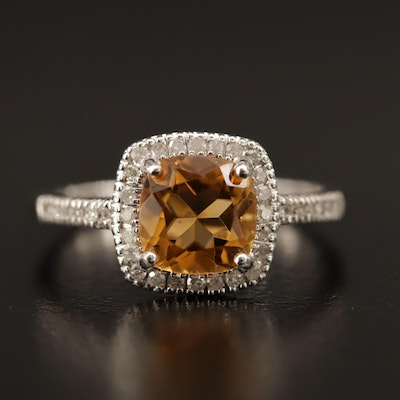 10K Citrine and Diamond Ring with Halo