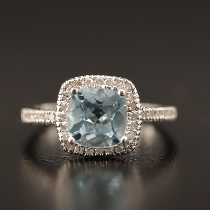 10K Topaz and Diamond Ring with Halo
