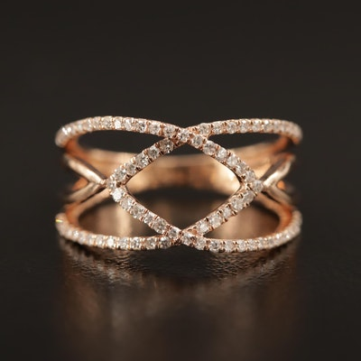 10K Interlocked Motif Diamond Ring