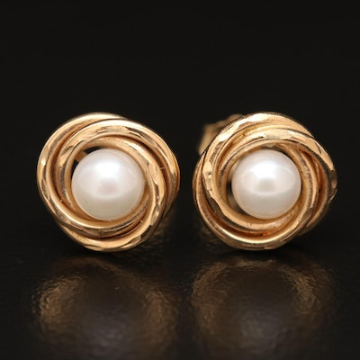 14K Pearl Knot Earrings with Diamond Cut Accents