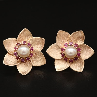 14K Pearl and Ruby Flower Earrings
