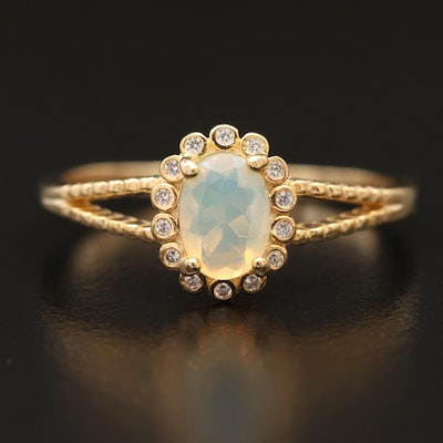 Sterling Opal and Cubic Zirconia Halo Ring