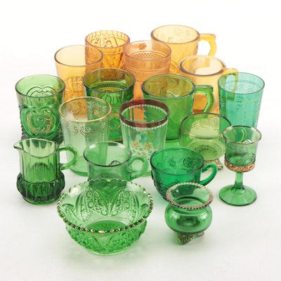 Northwood and Other Amber and Green Pressed Glass Cups and Serveware