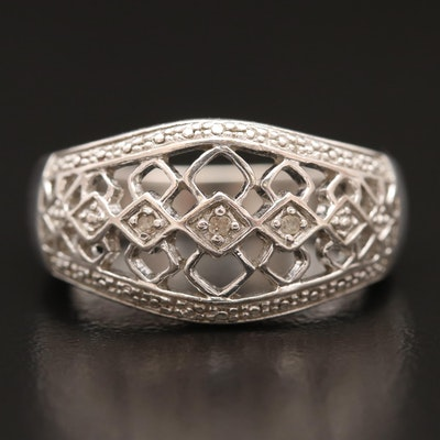 Sterling Silver Diamond Openwork Ring