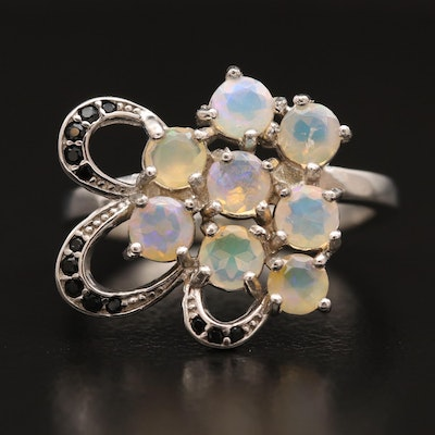 Sterling Silver Opal and Cubic Zirconia Floral Motif Cluster Ring