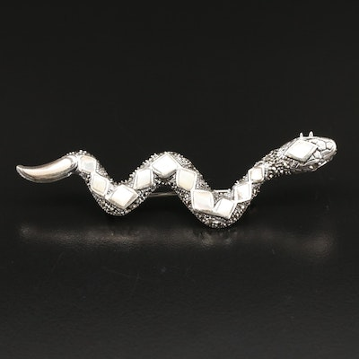 Sterling Mother of Pearl and Marcasite Diamondback Snake Brooch