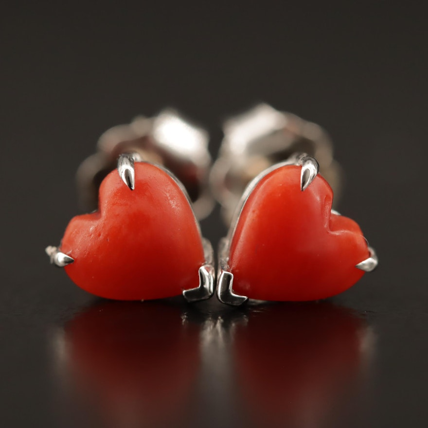 14K Carnelian Heart Stud Earrings